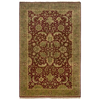 Vita Hand-Knotted Burgundy Area Rug Rug Size: Rectangle 56 x 86