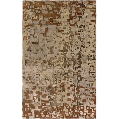 Vyara Hand-Knotted Beige Area Rug Rug Size: Rectangle 36 x 56