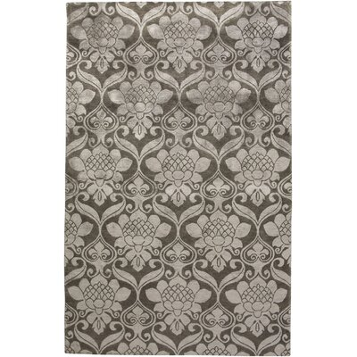 Warud Hand-Knotted Gray Area Rug Rug Size: Rectangle 36 x 56