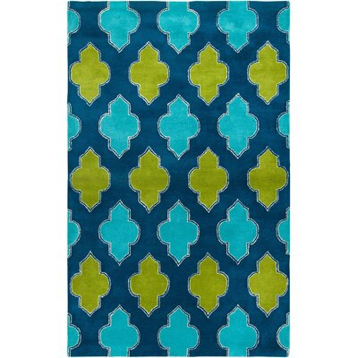 Ivory Hand-Tufted Blue/Green Area Rug Rug Size: 2 x 3