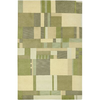 Leone Hand-Knotted Green/Tan Area Rug Rug Size: Rectangle 5 x 8
