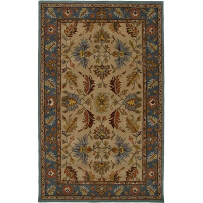 Canary Hand-Tufted Beige/Blue Area Rug Rug Size: Round 8