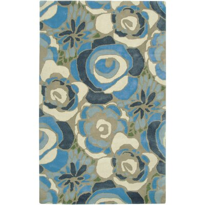 Nantes Hand-Tufted Blue/Cream Area Rug Rug Size: Rectangle 9 x 12