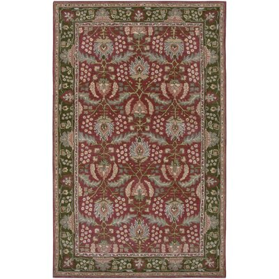 Newark Hand-Tufted Red/Green Area Rug Rug Size: 5 x 8