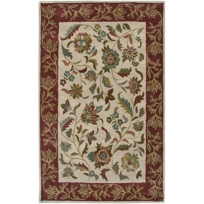 Harcourt Hand-Tufted Ivory/Rust Area Rug Rug Size: 5 x 8