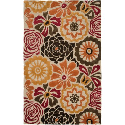 Punta Hand-Hooked Gold Area Rug Rug Size: Rectangle 9 x 12