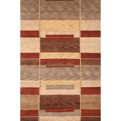 Augustine Hand-Knotted Tan/Red Area Rug Rug Size: 3 x 5