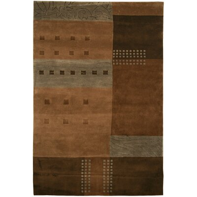 Sul Hand-Knotted Brown Area Rug Rug Size: 56 x 86