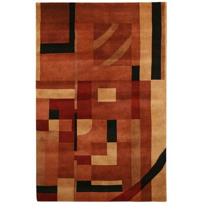 Velho Hand-Knotted Rust Area Rug Rug Size: Rectangle 36 x 56