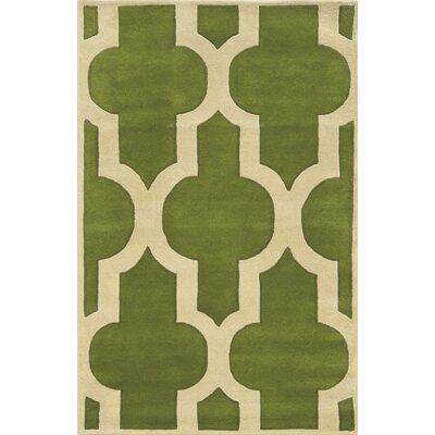 Marghera Hand-Tufted Green/Ivory Area Rug Rug Size: Round 8'