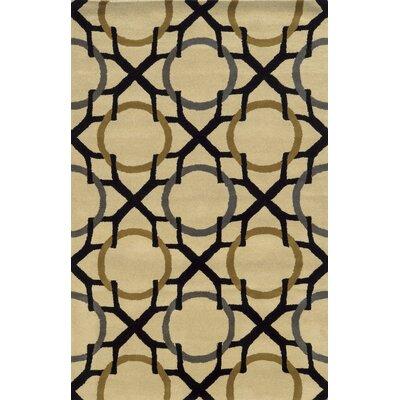Izmir Hand-Tufted Beige/Black Area Rug Rug Size: 5' x 8'
