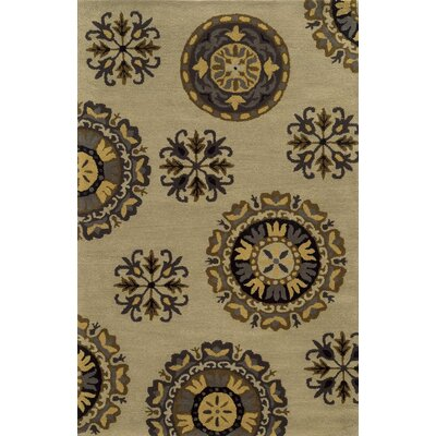 Kavala Hand-Tufted Beige Area Rug Rug Size: Round 8