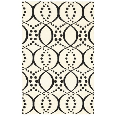 Volos Hand Tufted Wool Black/Cream Area Rug Rug Size: Rectangle 8 x 10