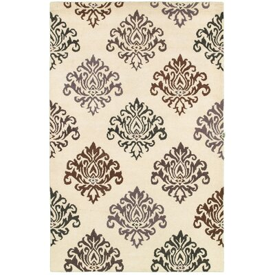 El Musel Hand-Tufted White Area Rug Rug Size: Round 8