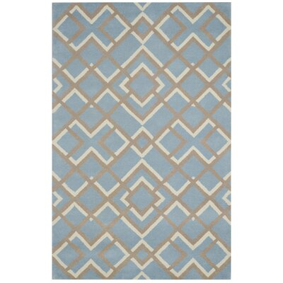 La Rochelle Hand-Tufted Light Blue Area Rug Rug Size: Round 8