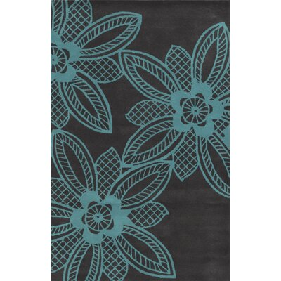 Roatan Hand-Tufted Turquoise/Grey Area Rug Rug Size: Round 8