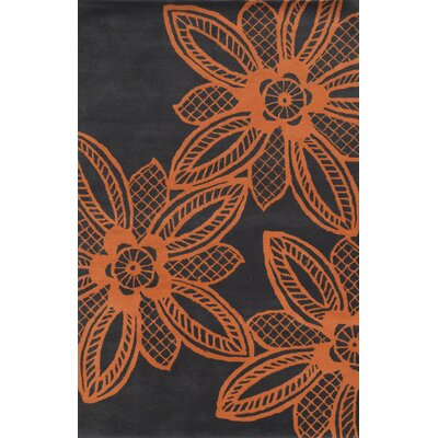 Santiago Hand-Tufted Orange/Grey Area Rug Rug Size: Rectangle 8' x 10'