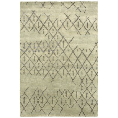 Dieppe Hand-Knotted Grey Area Rug Rug Size: Rectangle 36 x 56