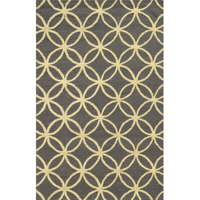 Falmouth Hand-Tufted Dark Grey/Yellow Area Rug Rug Size: Rectangle 9 x 12