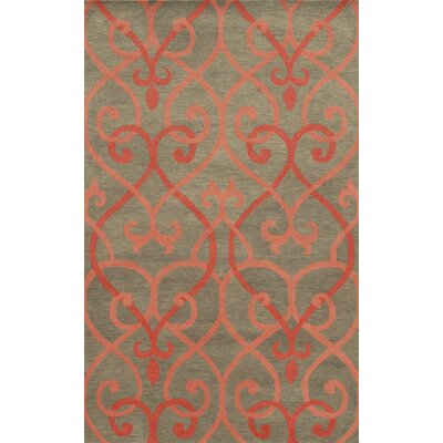 Michigan Hand-Tufted Coral/Grey Area Rug Rug Size: Round 8