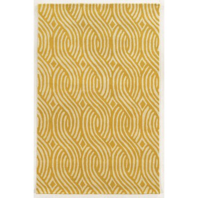 Larne Hand-Tufted Ivory/Gold Area Rug Rug Size: Rectangle 5 x 8