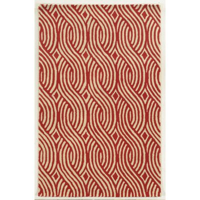 Genoa Hand-Tufted Ivory/Red Area Rug Rug Size: 9 x 12