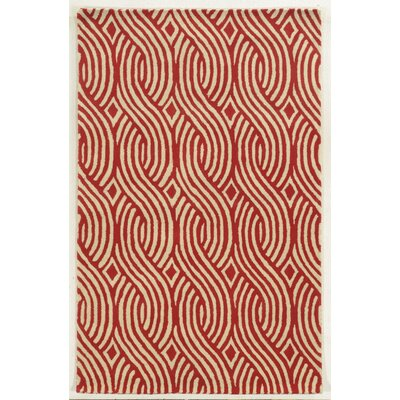 Genoa Hand-Tufted Ivory/Red Area Rug Rug Size: Rectangle 3 x 5