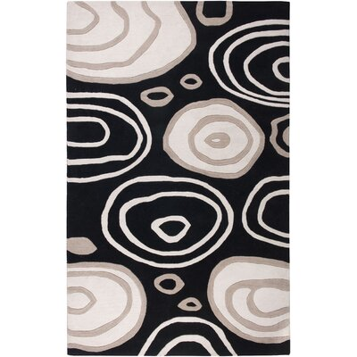 Iskenderun Hand-Tufted Black/White Area Rug Rug Size: 5 x 8