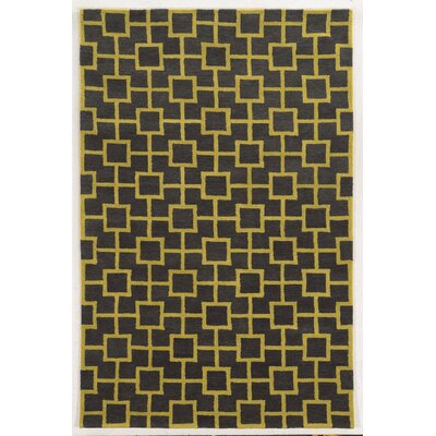 Larnaca Hand-Tufted Coal/Gold Area Rug Rug Size: 5 x 8