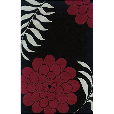Mersin Hand-Tufted Black/Red Area Rug Rug Size: 5 x 8