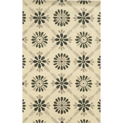 Sicily Hand-Tufted Gray/Ivory Area Rug Rug Size: 5 x 8