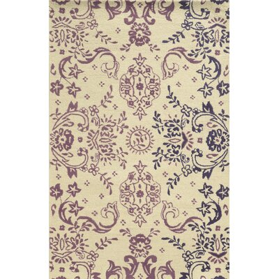 Wahran Hand-Tufted Ivory/Plum Area Rug Rug Size: 5 x 8