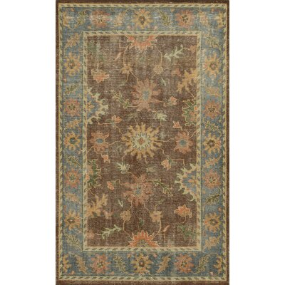 Fourchon Hand-Knotted Brown/Blue Area Rug Rug Size: 5 x 8