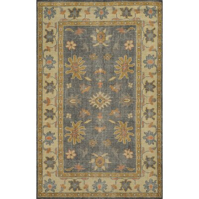 Zeebrugge Hand-Knotted Charcoal/Beige Area Rug Rug Size: 5 x 8