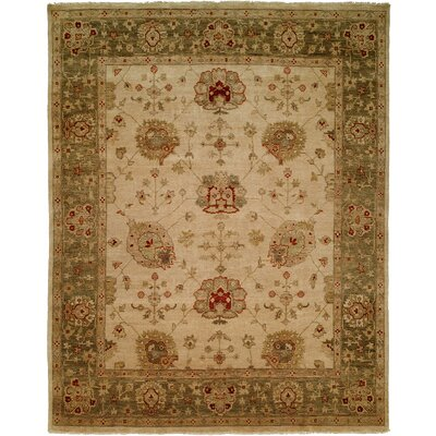 Geelong Hand-Knotted Ivory/ Green Area Rug Rug Size: Square 10