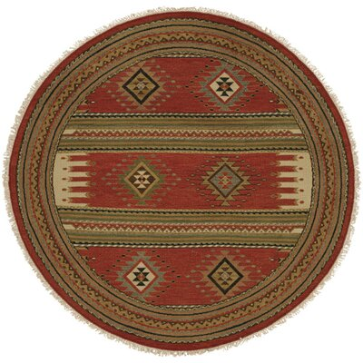 Hueneme Hand-Woven Rust Area Rug Rug Size: Round 8