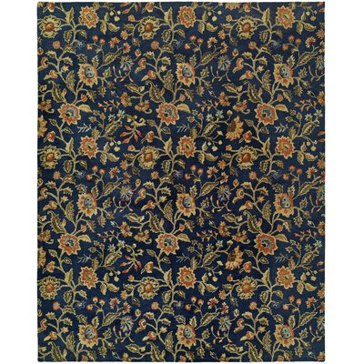Hand-Tufted Blue/Brown Area Rug Rug Size: 36 x 56