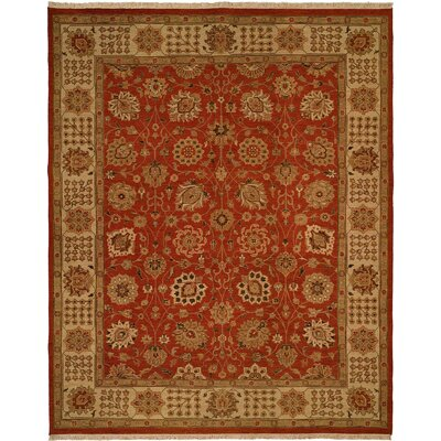 Hand-Knotted Red/Beige Area Rug Rug Size: 4 x 6