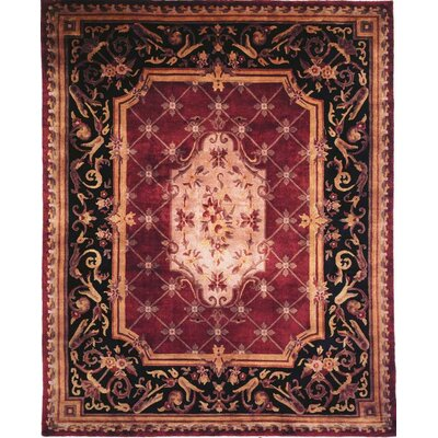 Hand-Knotted Purple/Black Area Rug Rug Size: 9 x 12