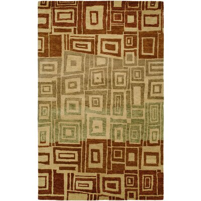 Hand-Tufted Brown/Beige Area Rug Rug Size: 36 x 56