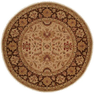 Hand-Knotted Brown Area Rug Rug Size: Round 10