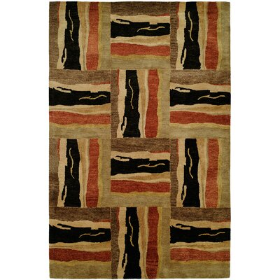 Port Hand-Tufted Brown/Red/Beige Area Rug Rug Size: 6 x 9