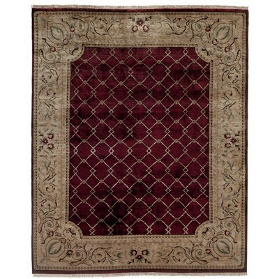 Hand-Knotted Purple/Beige Area Rug Rug Size: Rectangle 6 x 9
