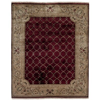 Hand-Knotted Purple/Beige Area Rug Rug Size: 6 x 9