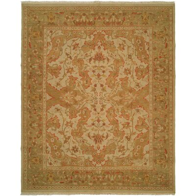 Hand-Knotted Beige/Soft Gold Area Rug Rug Size: 4 x 10