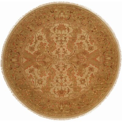 Hand-Knotted Beige/Soft Gold Area Rug Rug Size: Round 10
