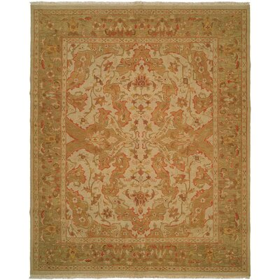 Hand-Knotted Beige/Soft Gold Area Rug Rug Size: 8 x 10