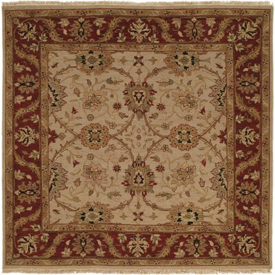 Hand-Knotted Beige/Red Area Rug Rug Size: Square 6