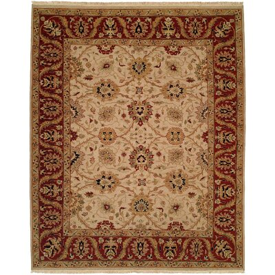 Hand-Knotted Beige/Red Area Rug Rug Size: 6 x 9