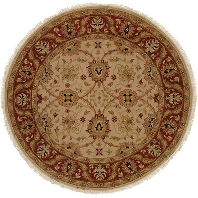 Hand-Knotted Beige/Red Area Rug Rug Size: Round 6